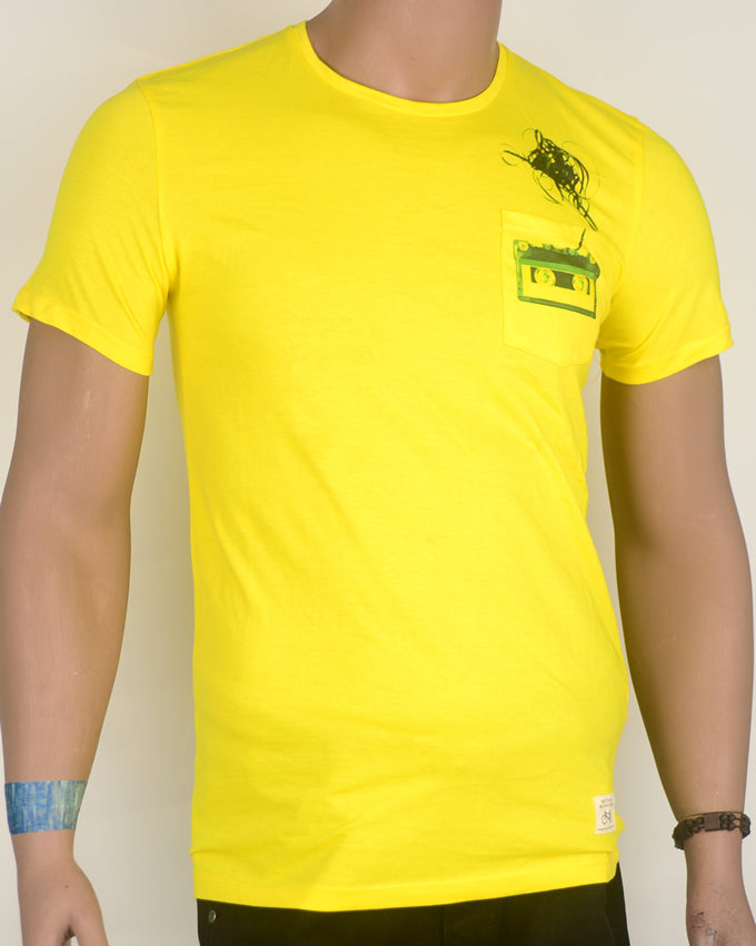 Yellow Pocket Cassette T-shirt - Small