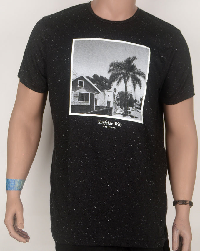 Surfside Way Print Black T-Shirt - Large