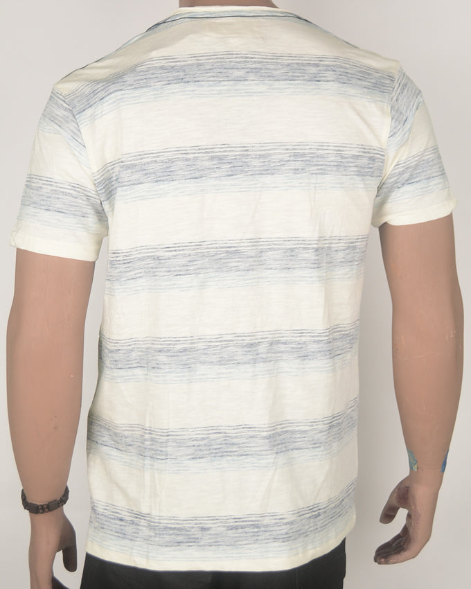 Blue Stripes on Plain Cream T-Shirt - Large