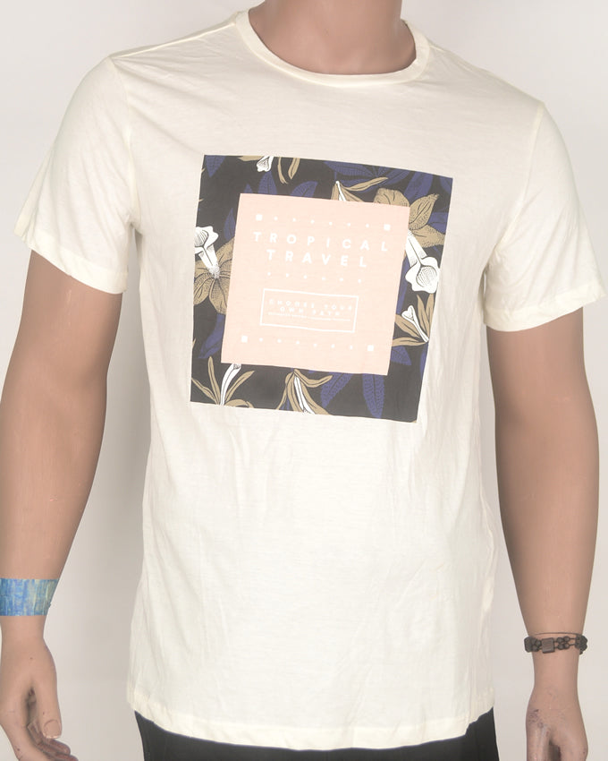 Tropical Travel Cream T-Shirt - Large