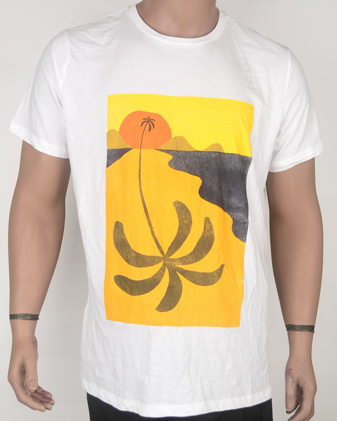 Yellow Palm Tree Print White T-shirt - XL