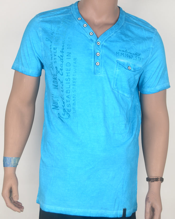 Urban Street Wear Bright Blue Button Down T-Shirt - Large