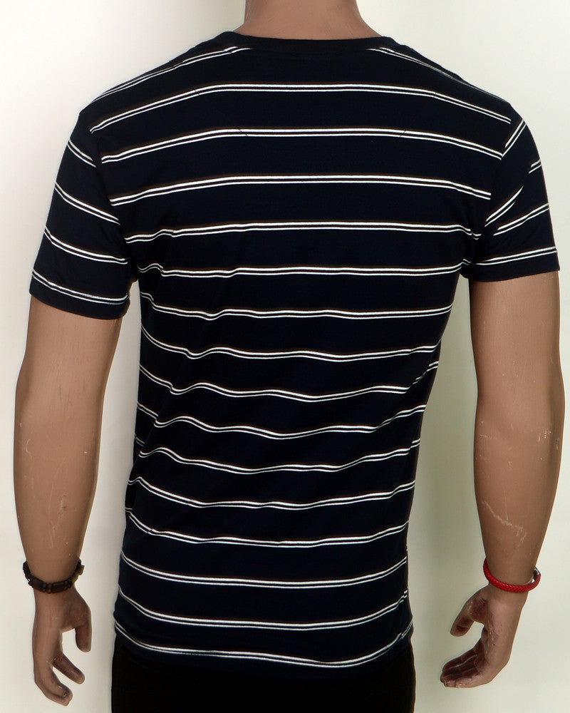 Navy Blue With Stripes  - XL