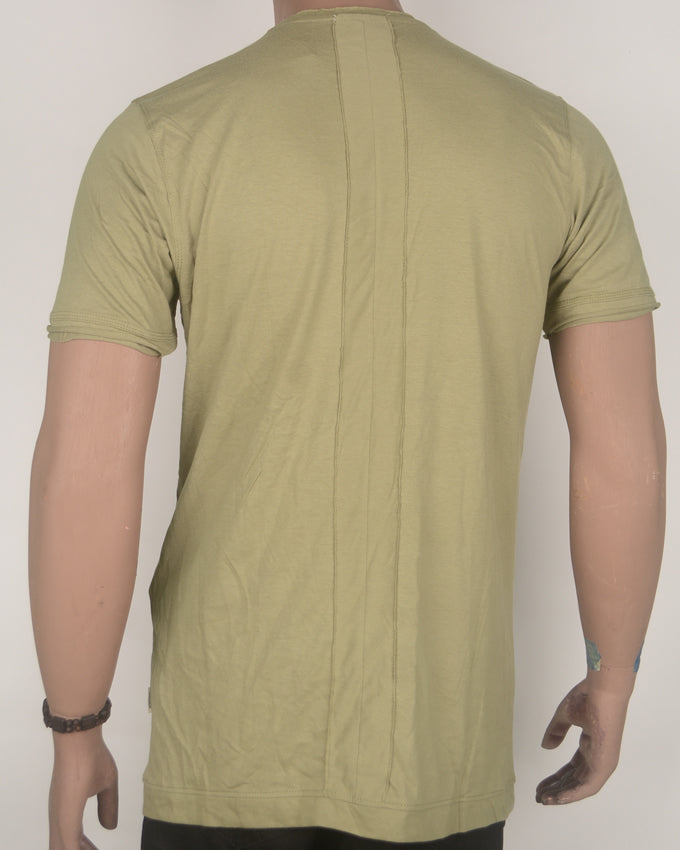 Pale Green Patched Shoulder Long-Fit T-Shirt - Large