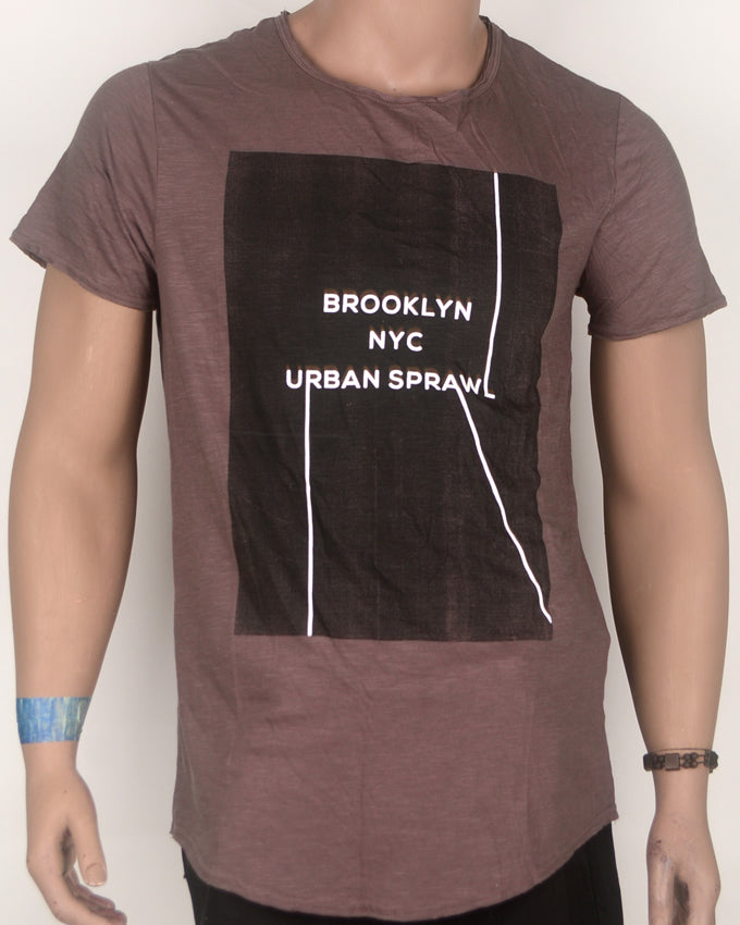 Brooklyn NYC Urban Sprawl Brown T-Shirt - Large