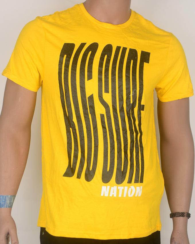 Big Surf Print Yellow T-shirt - Large