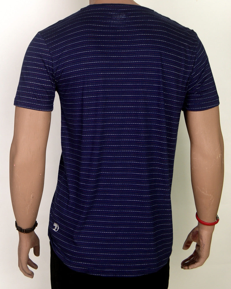 Navy Stripes with Pocket - T-shirt - Navy - XL
