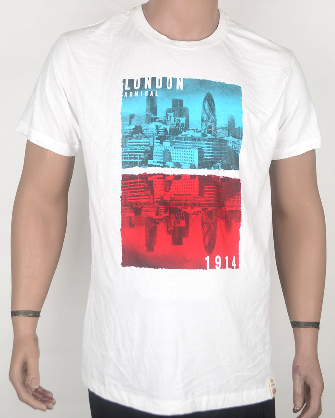 London Admiral Print White T-Shirt - XL