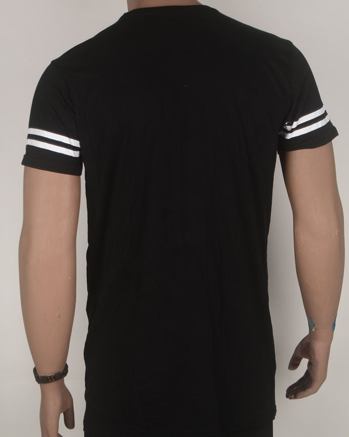 Nineteen Revolution Striped Sleeve Black T-shirt - Large