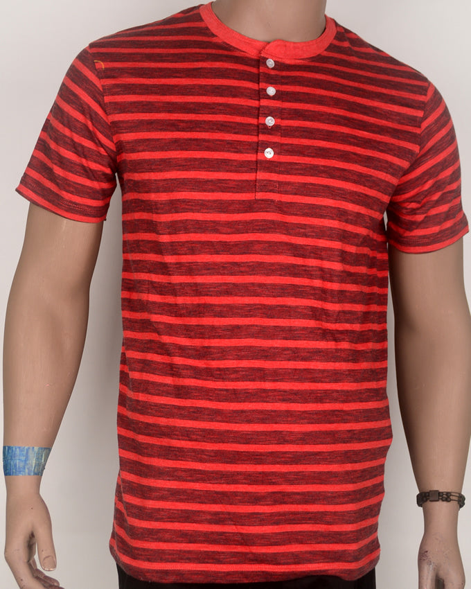 Black Stripes Buttoned Red T-shirt - Large