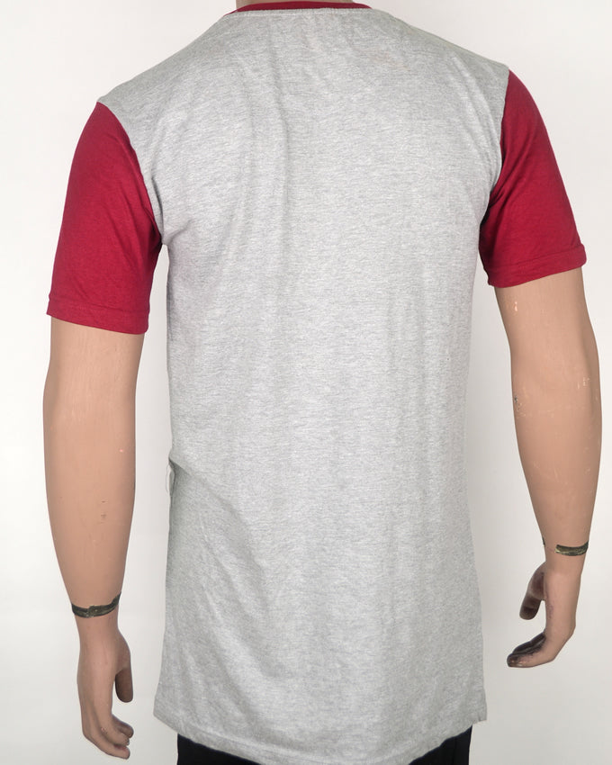 Red Sleeves and Collar Grey T-shirt - XL