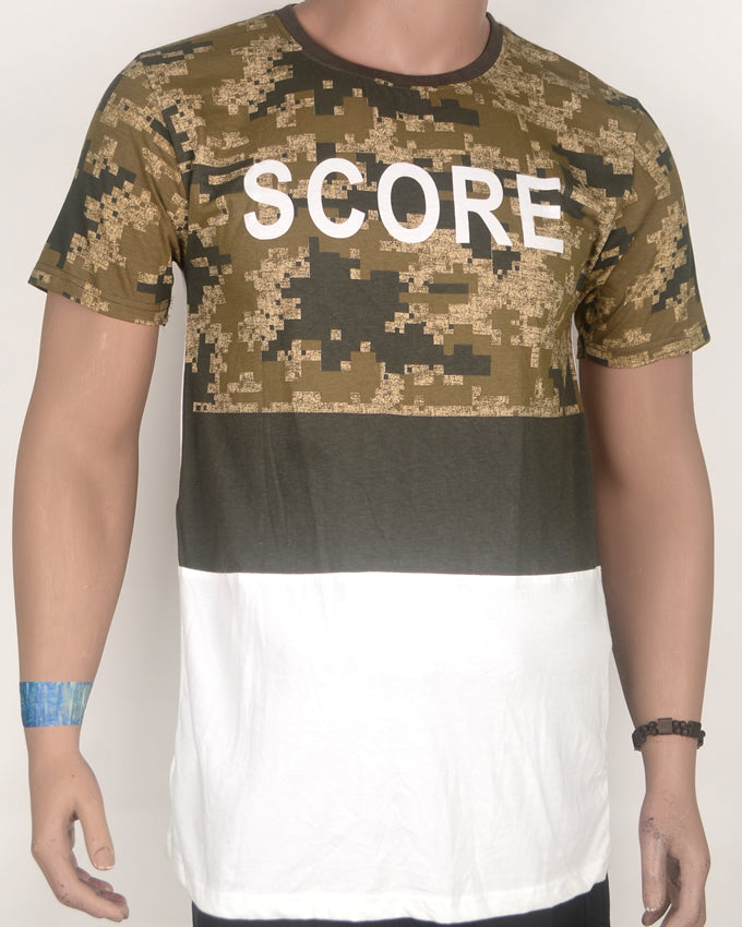 Score Print Brown and White T-shirt - Large