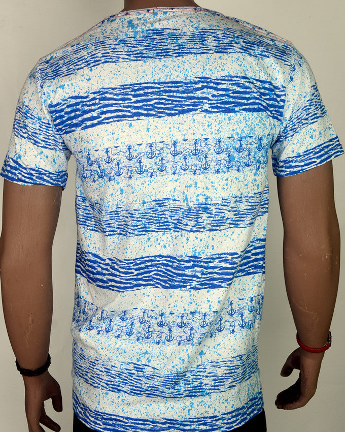 Blue Waves with Anchors - T-Shirt - Large