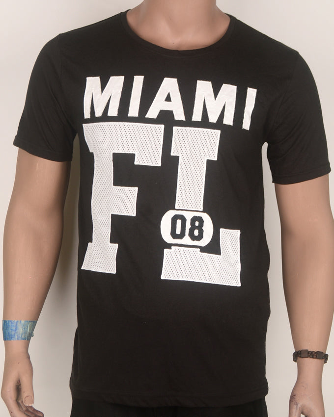 Miama FL Print Black T-shirt - Large
