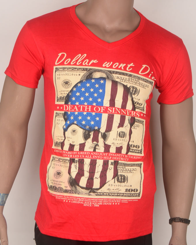 Dollar Wont Die Bright Red Print T-shirt - Large