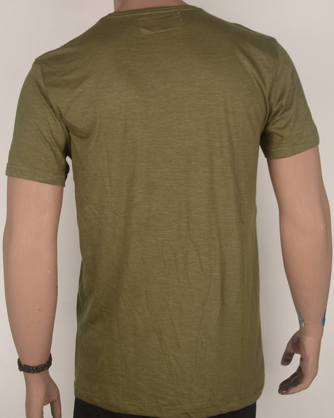 3 Patches Army Green T-shirt - Large