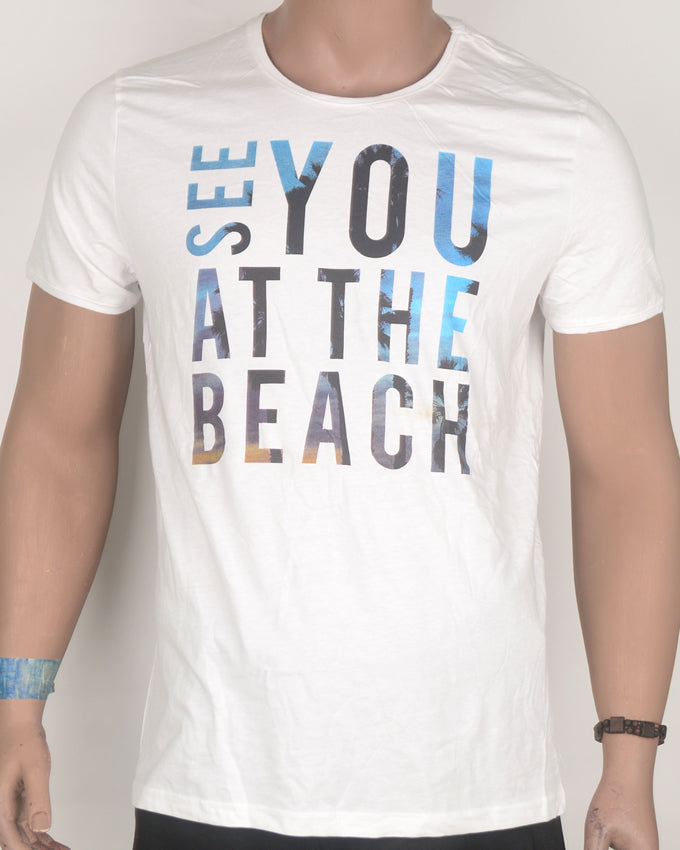 See You at The Beach White T-shirt - Large