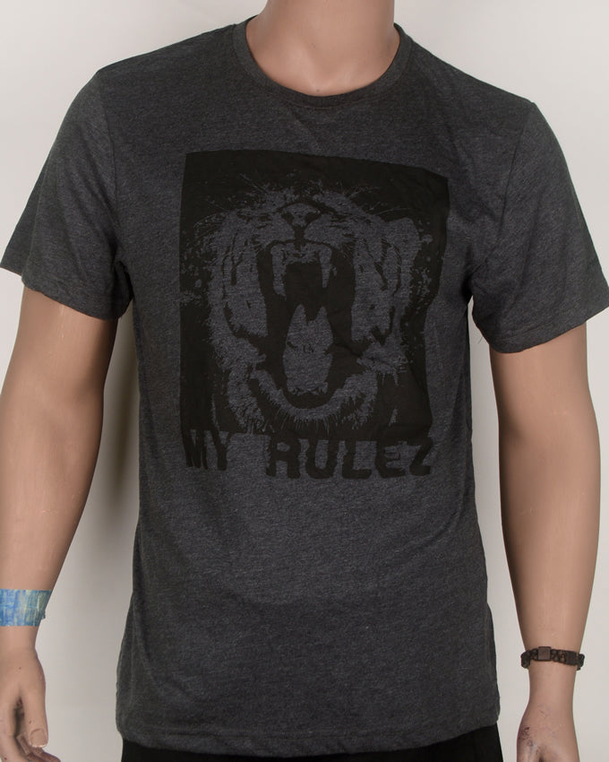 Tiger Face My Rules Dark Grey T-shirt - Large