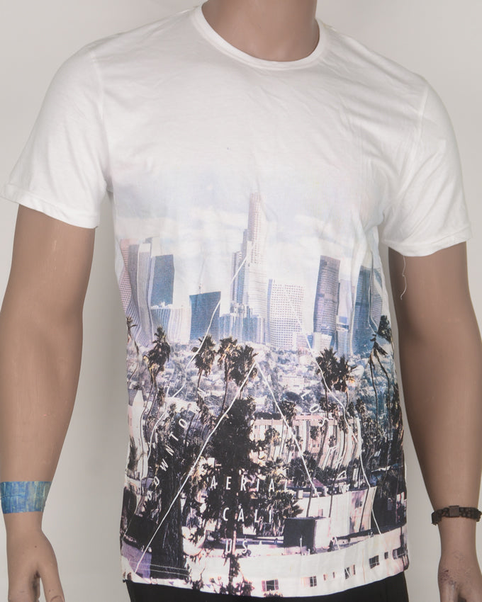 City Skyline Print White T-shirt - Large