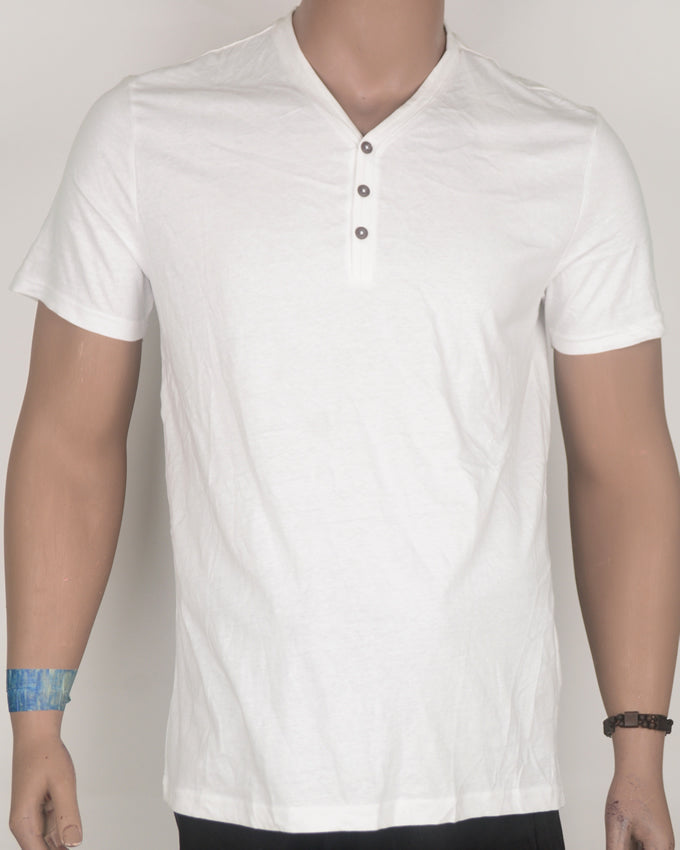 White V-neck Button Down T-shirt - Large