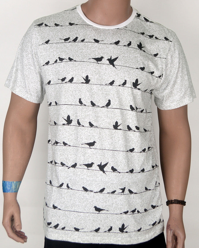 Birds on a Wire Black and White T-shirt - XL