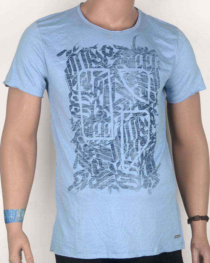 Abstract Print on Blue T-shirt - Large