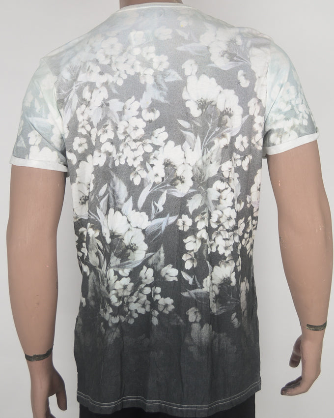 Flower Print fade to Grey T-shirt - XL