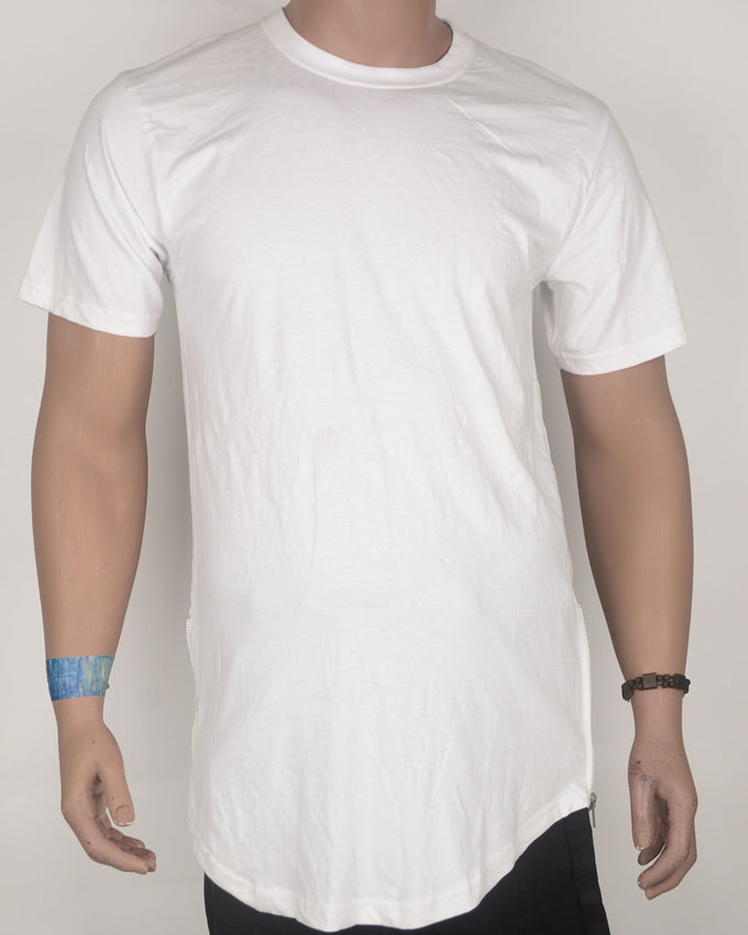 Plain White Long-fit T-shirt with Side Zip - Large