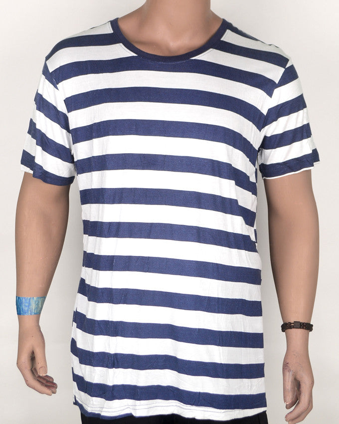Blue White Striped Print T-shirt - XL