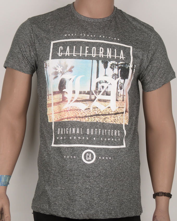 California Print Grey T-shirt - Large
