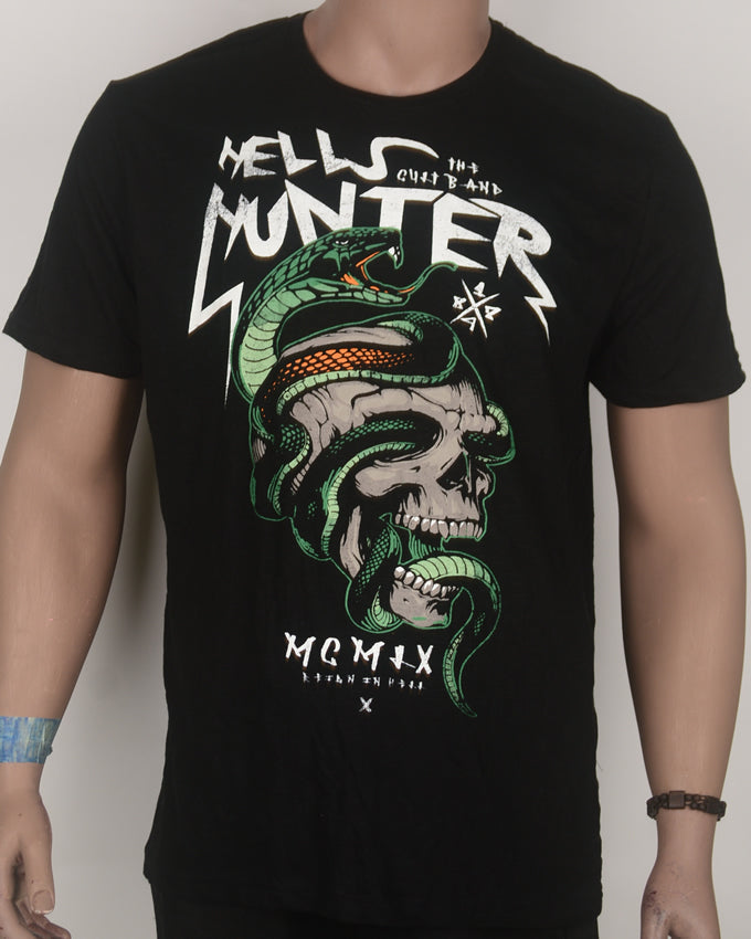 Hell's Hunter Print Black T-shirt - Large