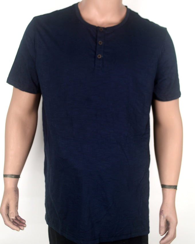 Plain Buttoned Dark Blue T-shirt - XL