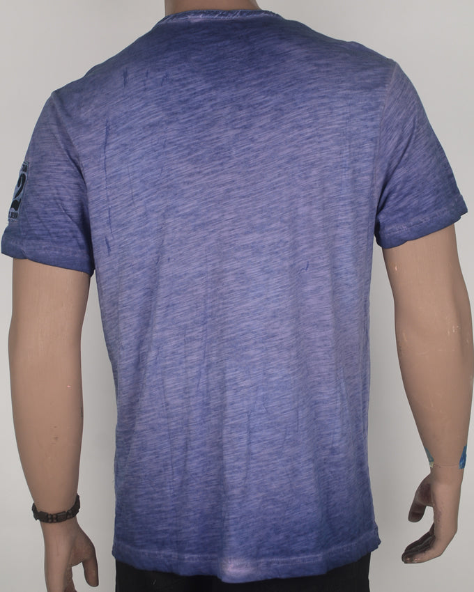 Plain Buttoned Blue Wash with Pocket T-shirt - Large