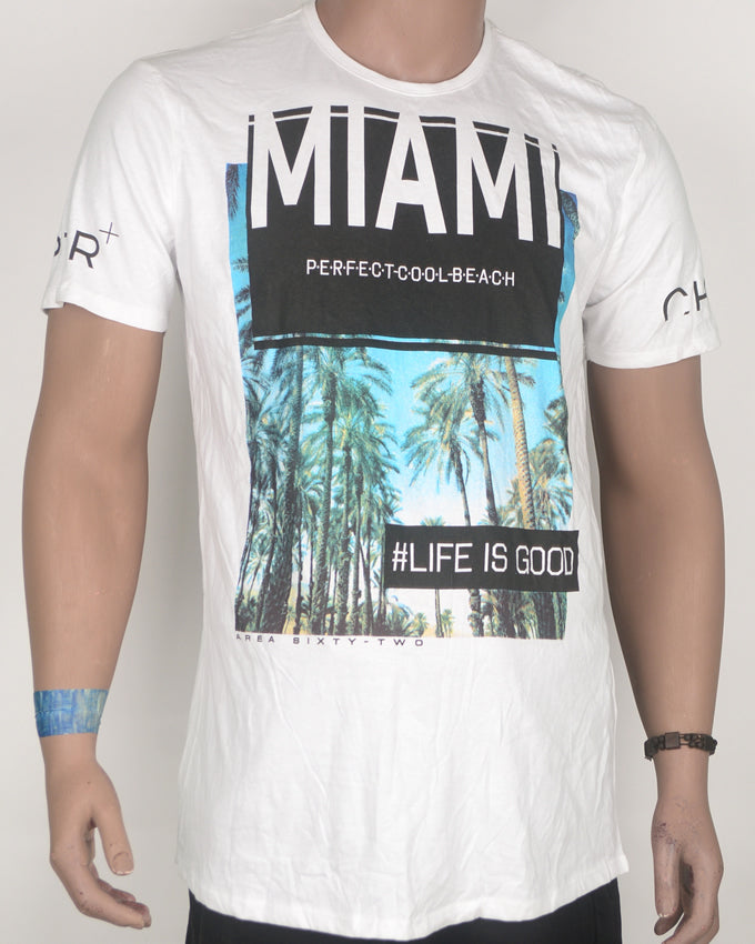 Miami Print Long Fit White T-shirt - Large