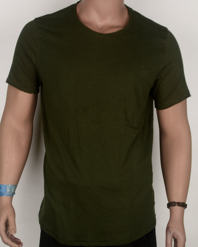 Army Green Loose Neck Long-Fit T-shirt - Large
