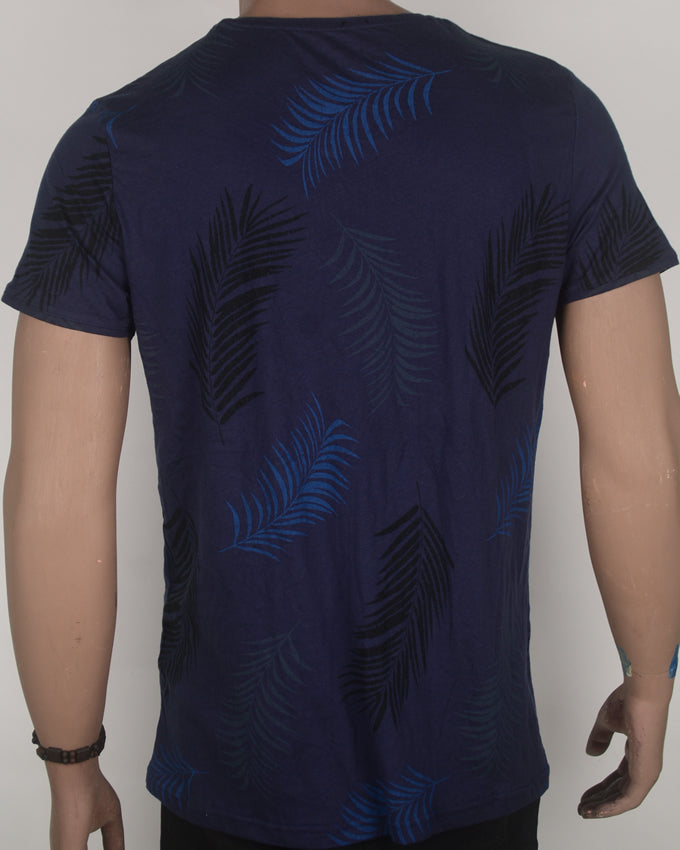 Beach Time Leaf Print Blue T-shirt - Large