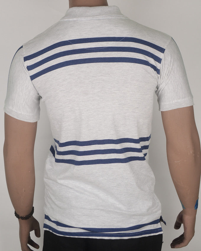Grey Polo with Blue Stripes T-shirt - Medium