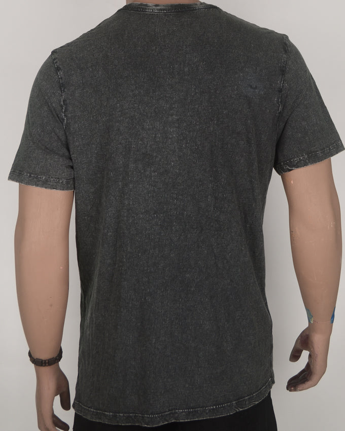 Washed Design Brooklyn Print Grey T-shirt - Large