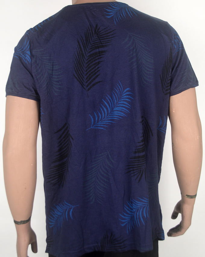 Beach Time Flower Print Dark Blue T-shirt -XL