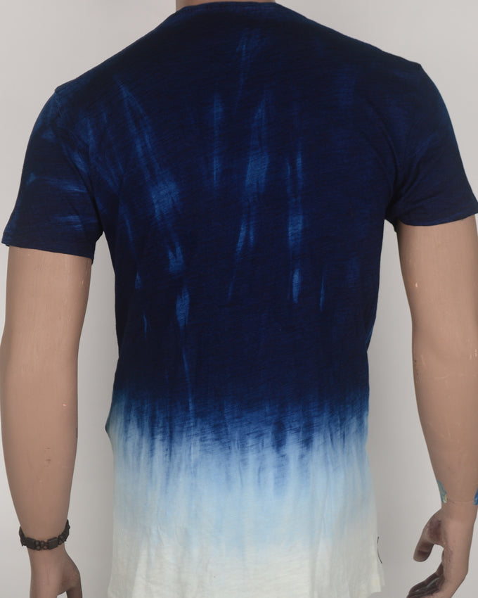 RAW Pocket Print Blue Fade to White T-shirt - Large