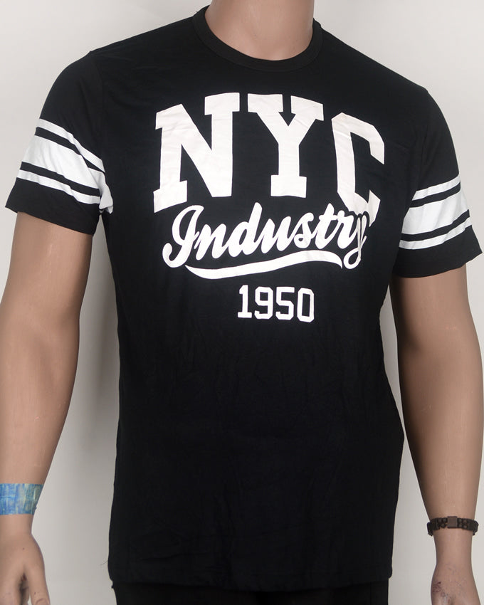 NYC Industry Print Black T-shirt - Large