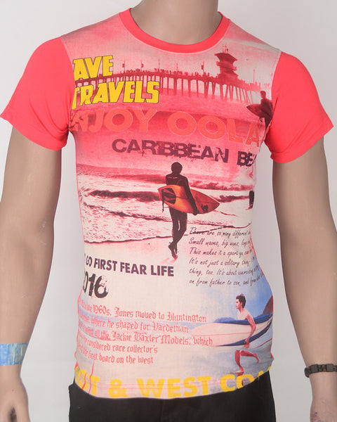 Ave Travels Caribbean Print - T-shirt - Small
