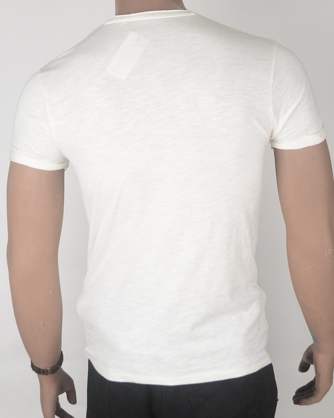 White with Palm Print Pocket - T-shirt - Small