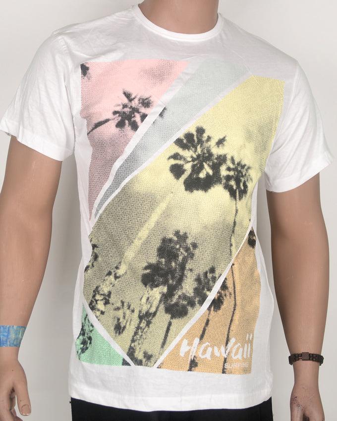 Hawaii Palm Print White T-shirt - Large