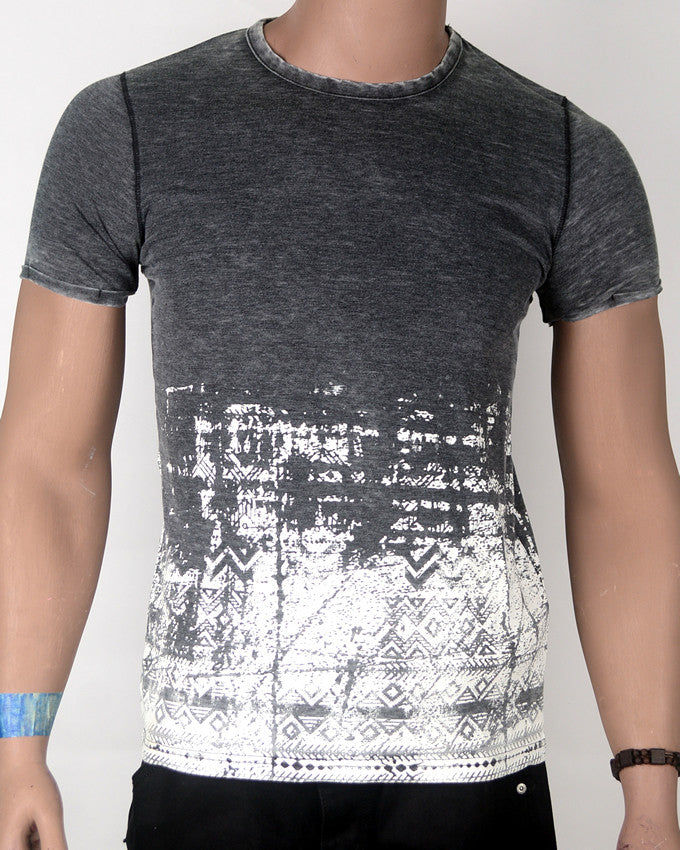 Grey Top White Bottom - T-shirt - Small