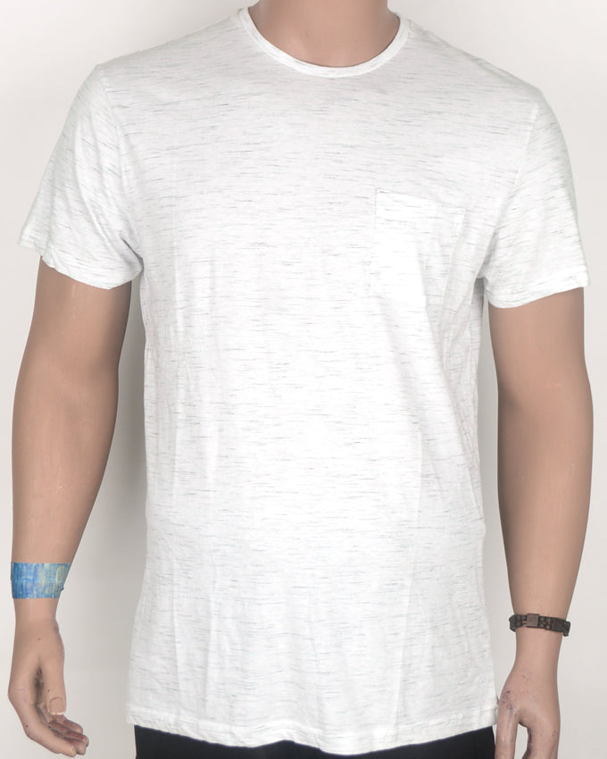 Plain White T-shirt with Dashes and Pocket - Large