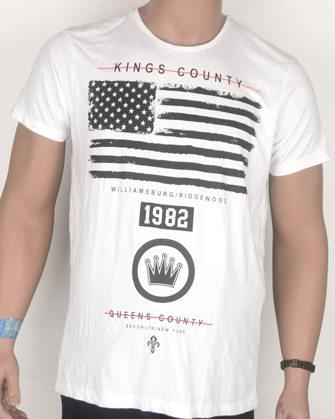 Kings County American Flag White T-shirt- Large