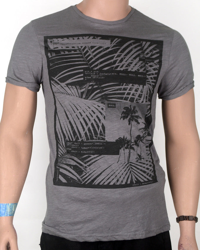 Grey Palm Tree Design T-shirt - Small