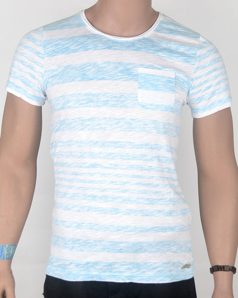 Light Blue Stripes White T-shirt - Small