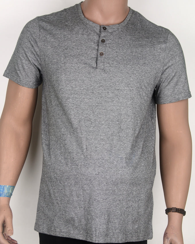 Buttoned Down Grey T-shirt - Large